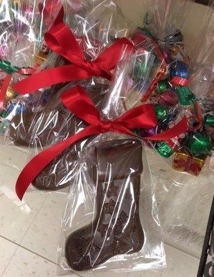 F - 3 Milk Chocolate Holiday Stockings.  Peanut and Gluten Free.