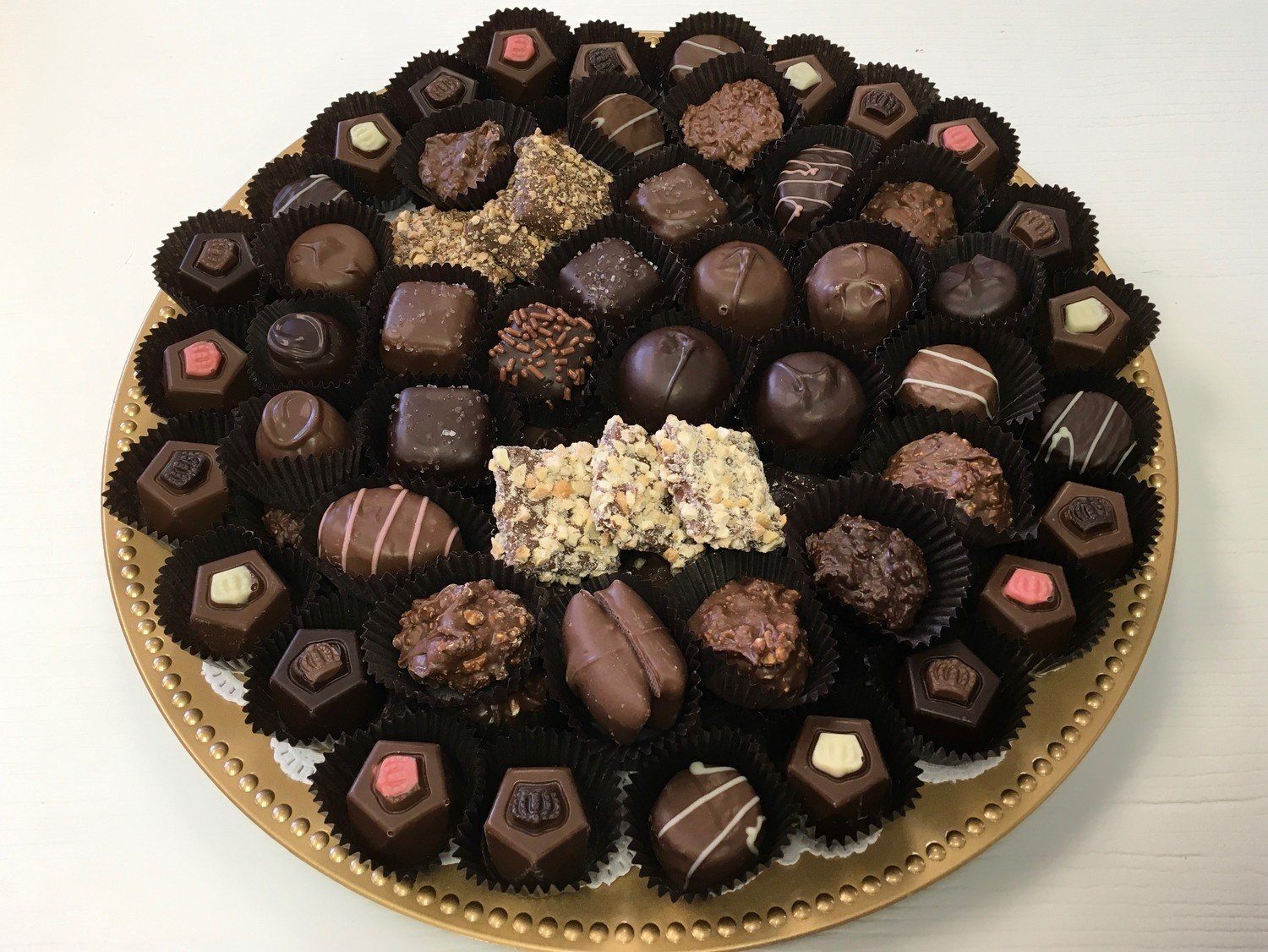 F - 2.5 Lbs. Assorted Chocolate Tray.  STORE PICK UP ONLY