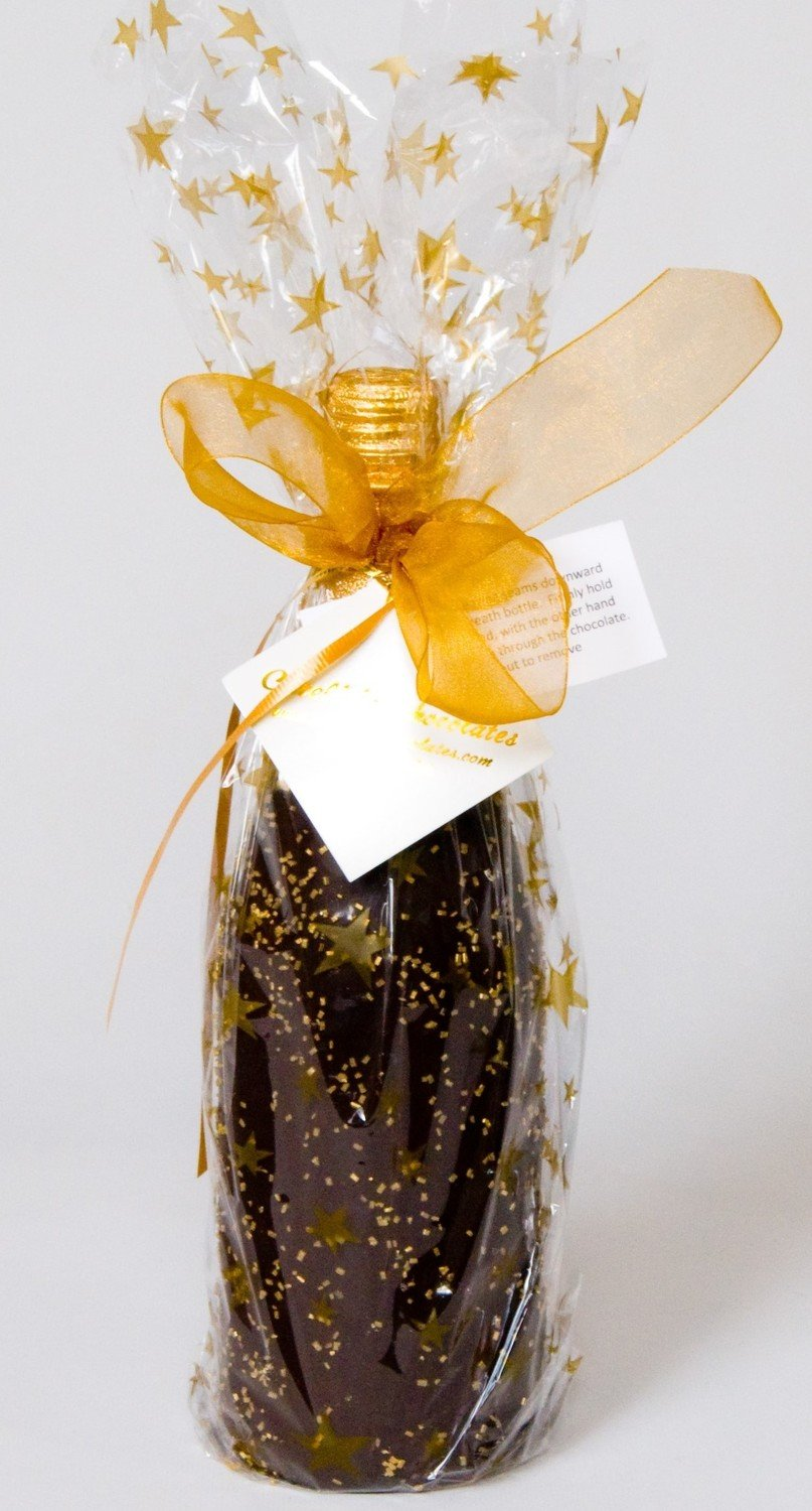 F - Martinelli's Sparkling Cider Chocolate Covered and wrapped in designer paper.  We dip in our Chocolate Kettle. Chocolate never touches bottle.  Easy Chocolate Removal.  Shipping Included!