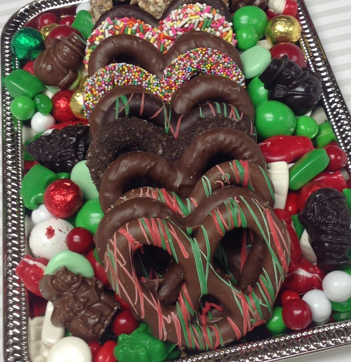 F - Assorted 3 Ring Gourmet Pretzel Tray with Holiday Mix.