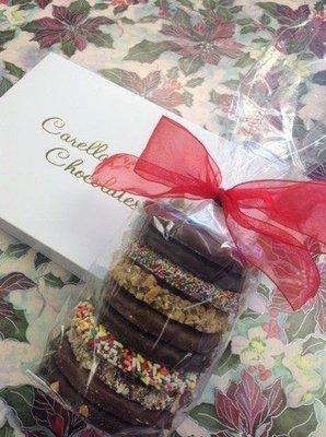 F - Half Pound of Chocolates Milk ad Dark, Bag of Gourmet Assorted Pretzels.