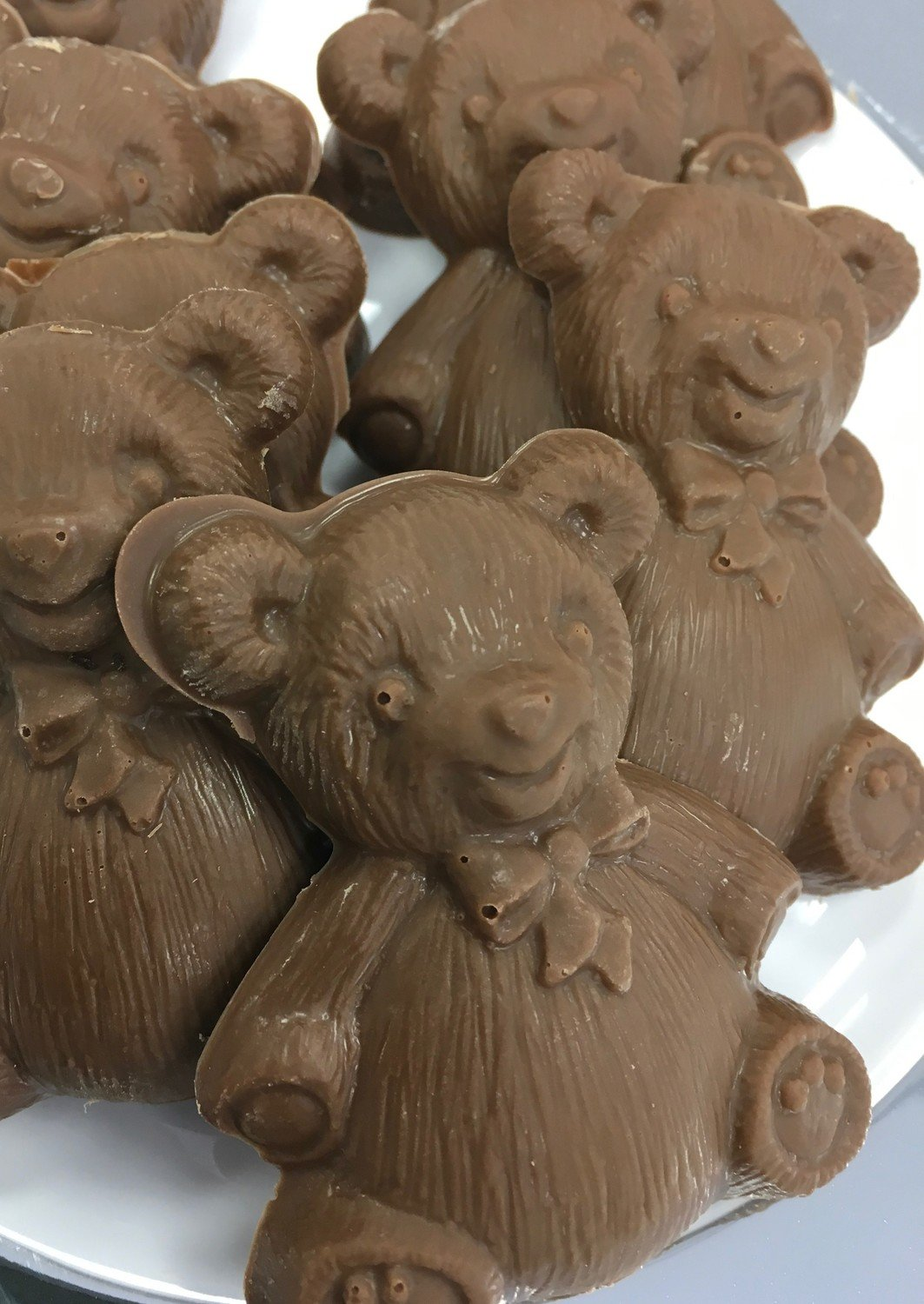 "F - Chocolate Teddy Bears. Milk Chocolate Only. 3"" x 2"" approx.  Peanut and Gluten Free.  20 to a Lb."