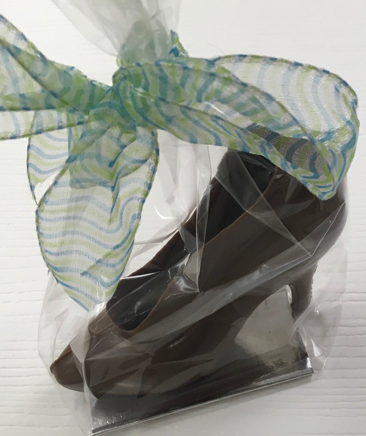 "Small Chocolate High Heel.  4""x4"" Bagged and Bowed."
