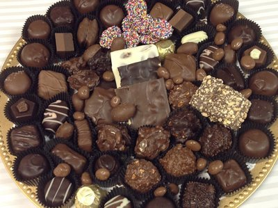 F - 2.5lb. Party Tray.  Milk and Dark.  Wrapped with Bow.  PICK UP OR DELIVERY ONLY IN MERCER COUNTY, NJ
