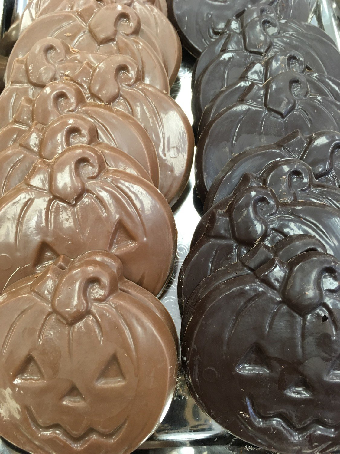 Chocolate Pumpkins 16 to a Pound.  Peanut and Gluten Free
