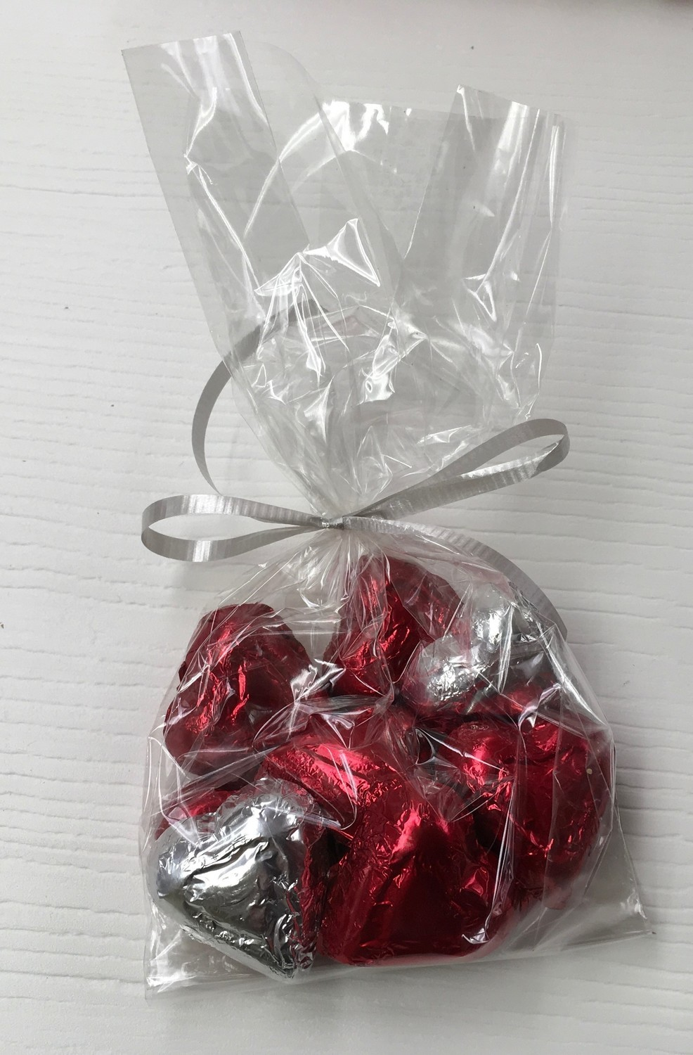 F - Bagged Foil Hearts Milk Chocolate (10 in bag)