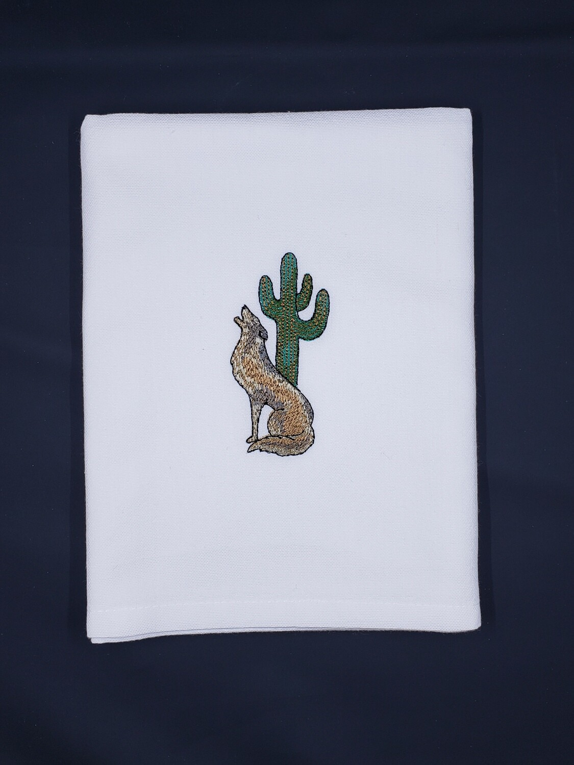 Coyote & Cactus White Towel