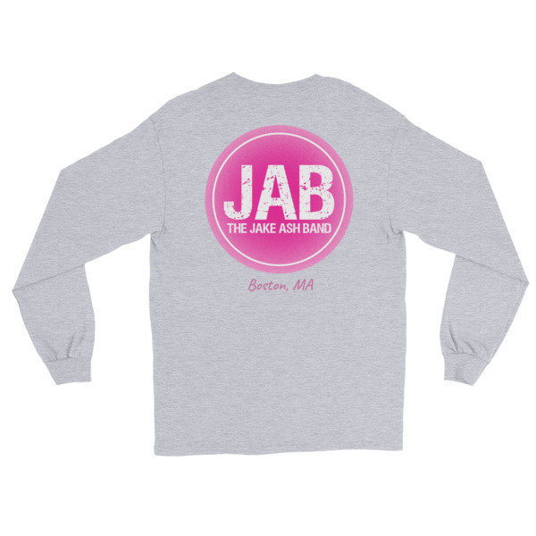 JAB Pink Logo, Boston, MA Long Sleeve T-Shirt! (Print On Back) Multiple Colors!