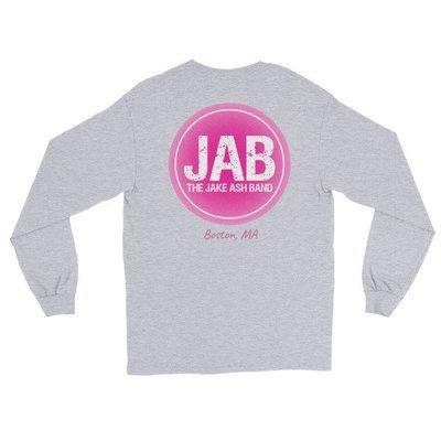 JAB Pink Logo, Boston, MA Long Sleeve T-Shirt! (Print On Back) Multiple Colors!