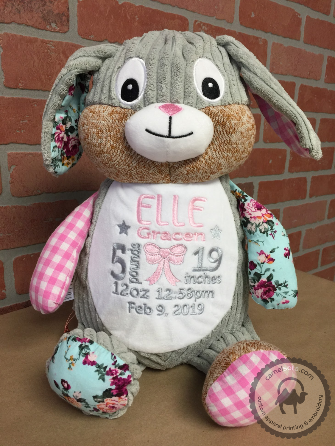 Custom Embroidered Bunny Cubbie - Harlequin Pink Bunny
