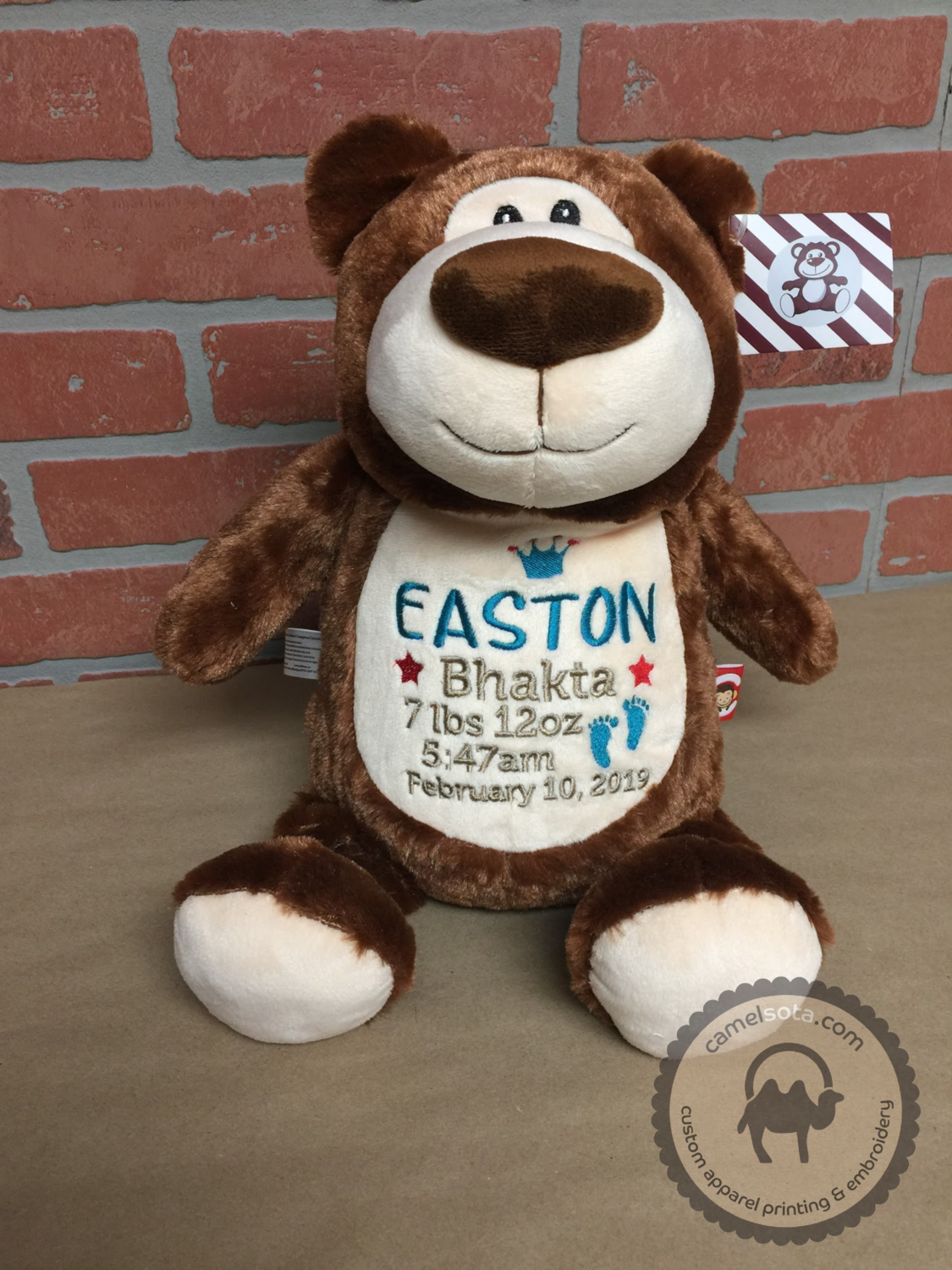 Custom Embroidered Bear Cubbie - Brown Bear