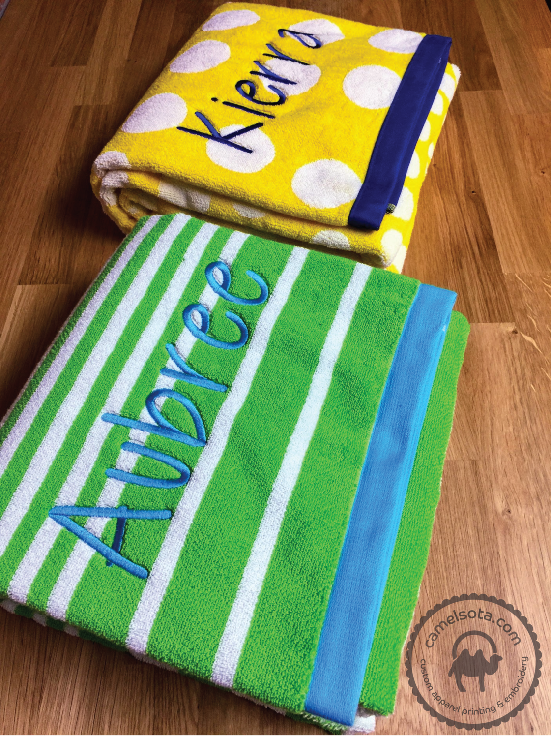 """Name Embroidered Extra Large Resort Beach Towel, Charisma Brand 35"""" x 70"""", Seasonal Item - Limited Quantity"""