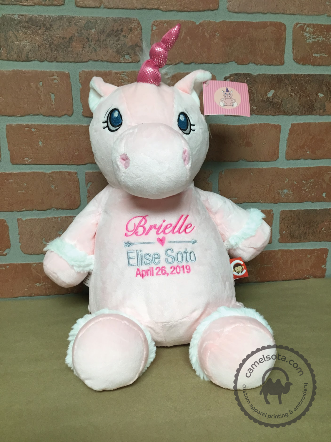 Custom Embroidered Pink Unicorn Cubbie