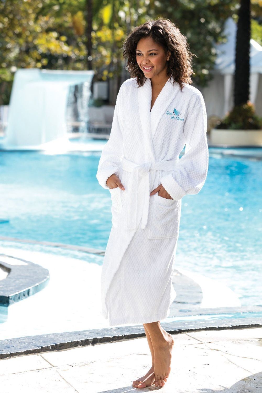 Custom Embroidered Port Authority® Checkered Terry Shawl Collar Robe, Monogrammed Terry Robe