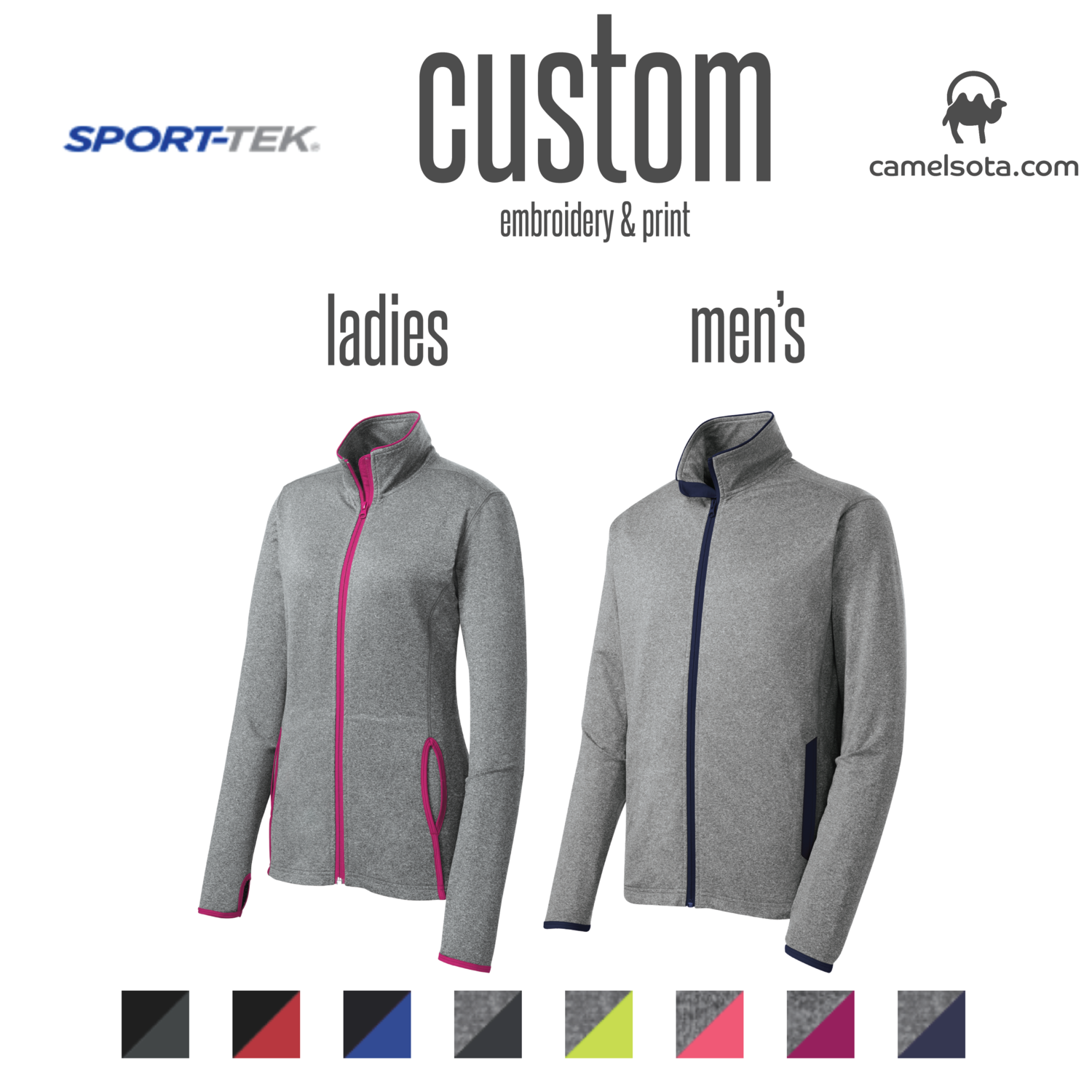 Customized Sport-Tek Sport-Wick® Stretch Contrast Full-Zip Jacket