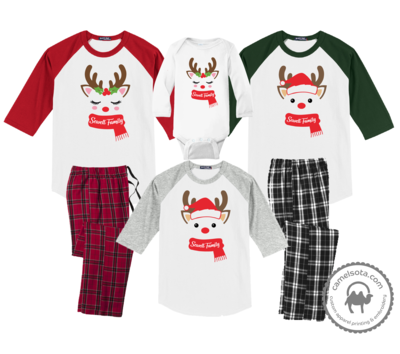 Family Coordinating Christmas Shirts and Pajama Pants - Reindeer