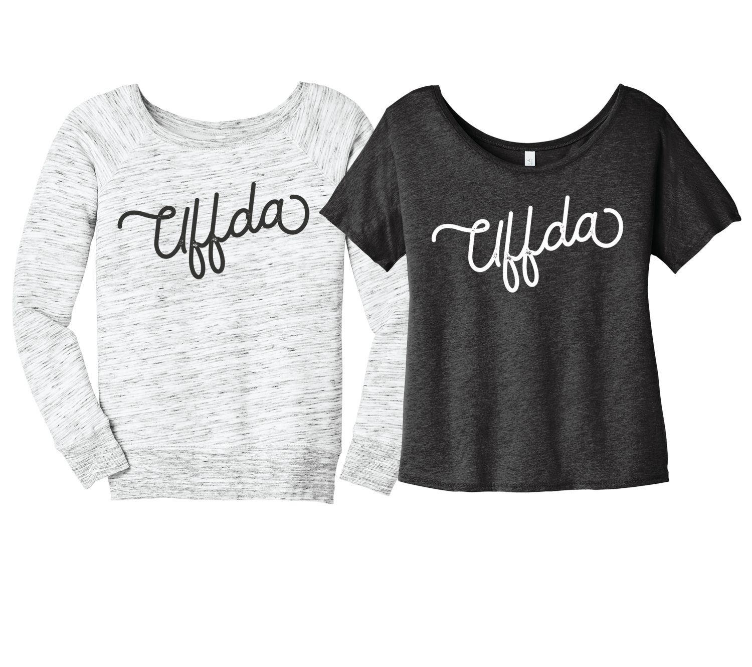 Uffda Wide Neck Sweatshirt and Shirt