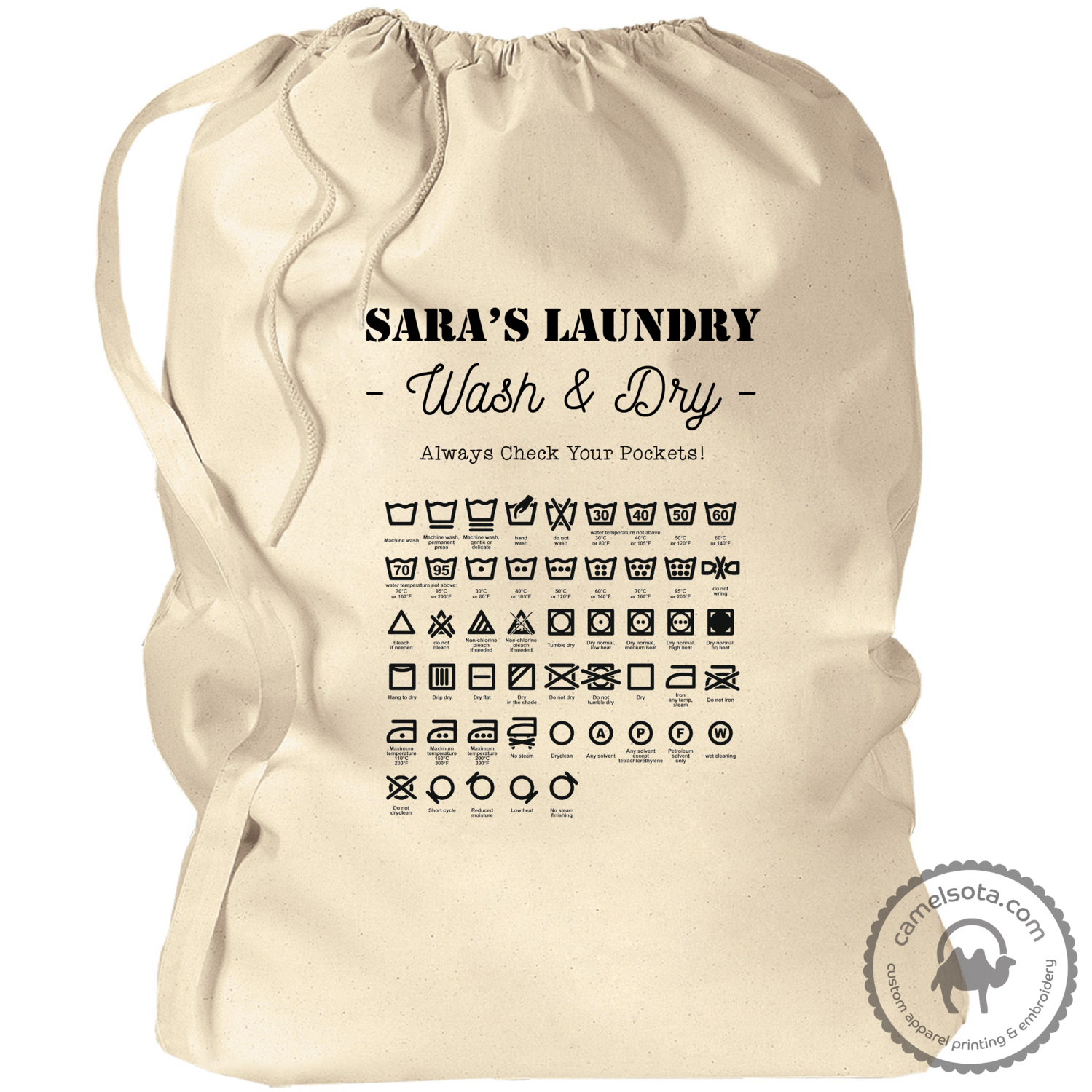 "Custom Laundry Bag with Laundry Symbols 33.5""x23.75"""