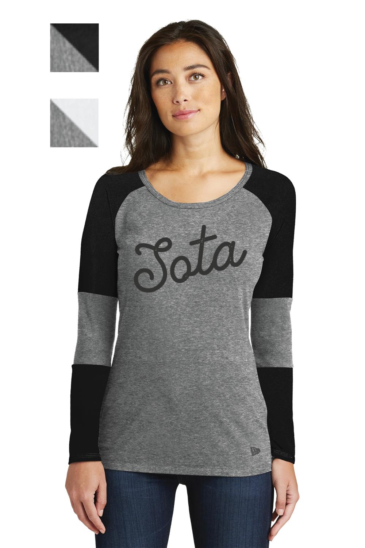Sota Design Printed on New Era® Ladies Tri-Blend Performance Baseball Tee