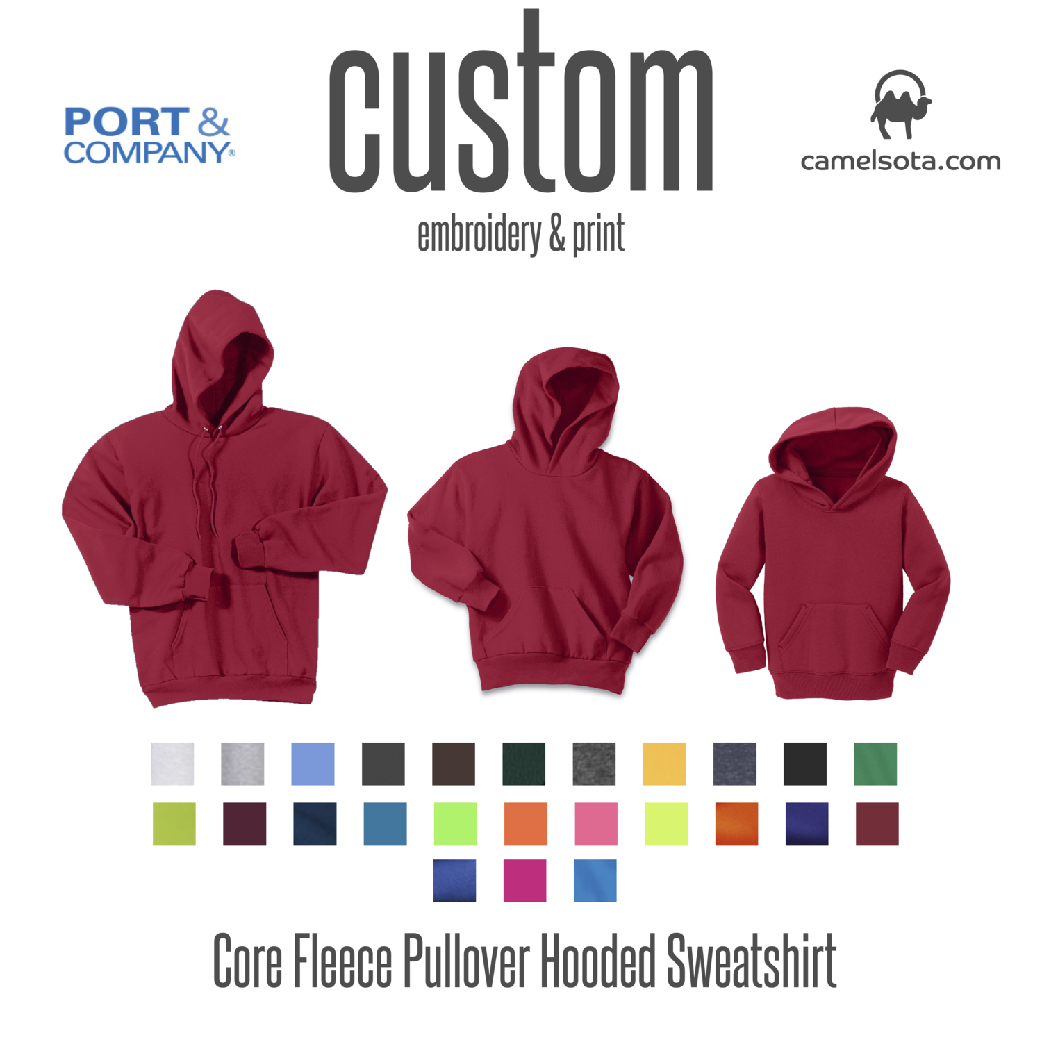 Custom Port & Company - Core Fleece Hooded Pullover