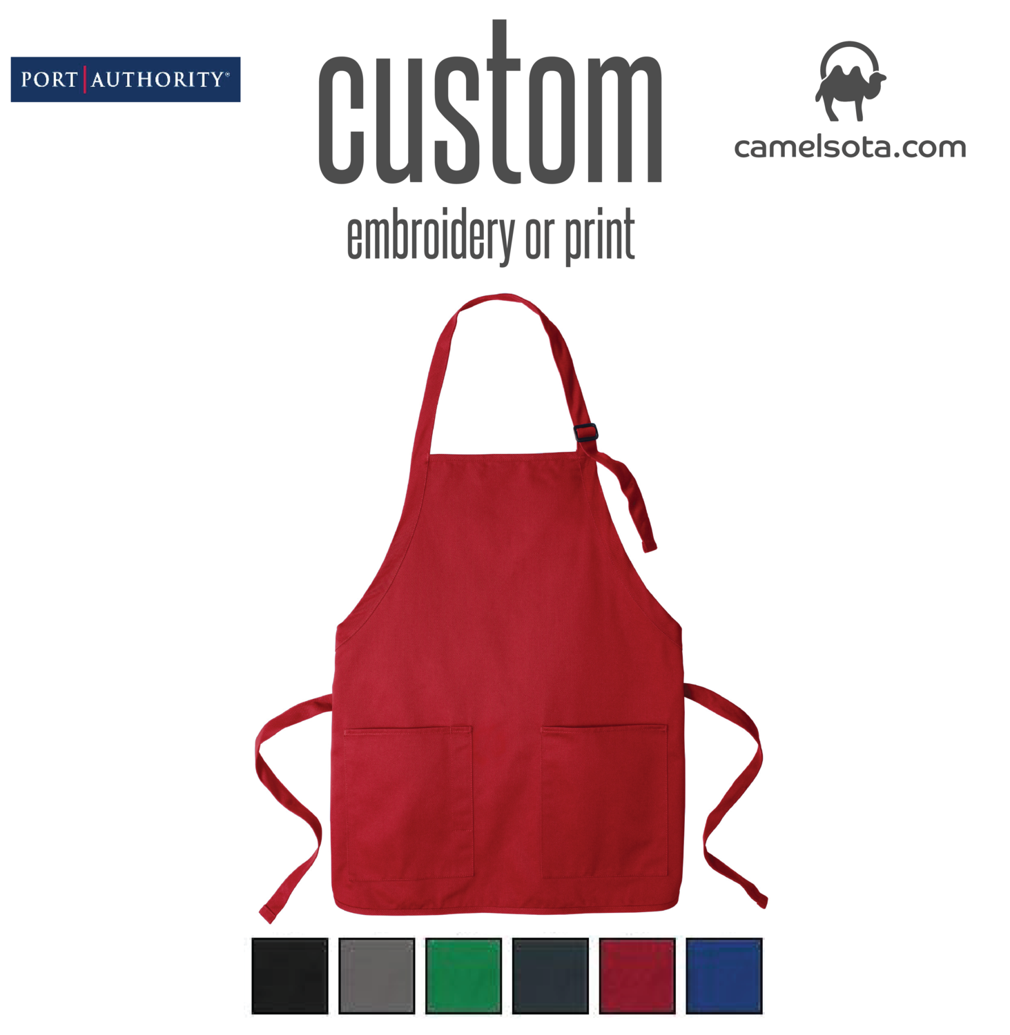 Custom Port Authority Medium Length Two Pocket Apron - Perfect for Kids