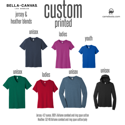 Custom Bella+Canvas Jersey and Heather Blend Shirts