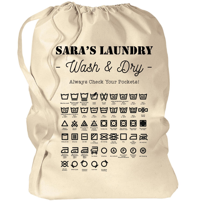 "Custom Laundry Bag with Laundry Symbols 33.5""x23.75"""