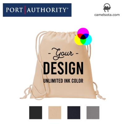 Custom Printed Port Authority Cotton Cinch Pack Bag