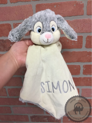 Custom Embroidered Grey Bunnie Blankie