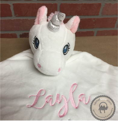 Custom Embroidered White Unicorn Blankie