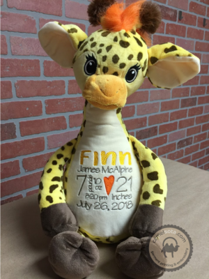 Custom Embroidered Giraffe Cubbie - Tumbleberry Giraffe