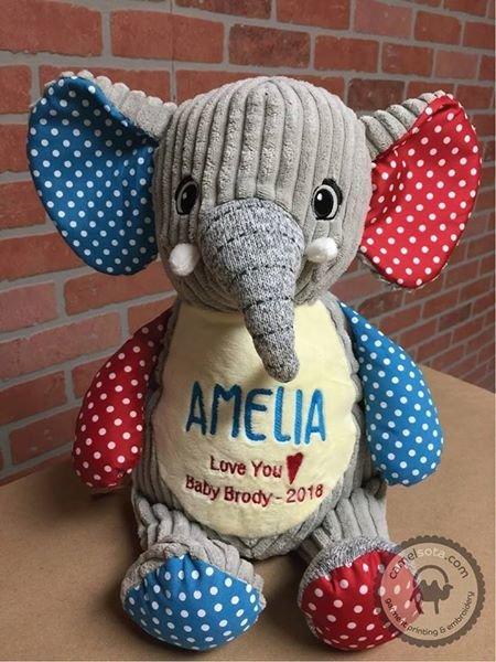 Custom Embroidered Harlequin Elephant Cubbie