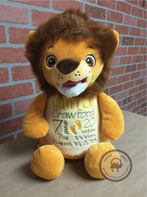 Custom Embroidered Lion Cubbie - Numbutu Lion
