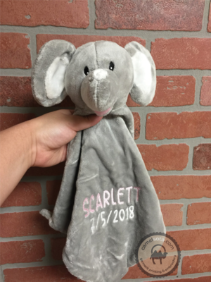 Custom Embroidered Grey Elephant Blankie