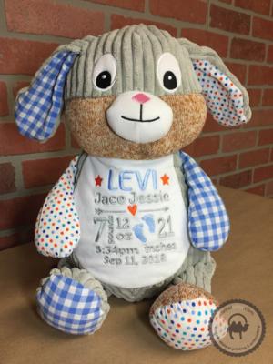 Custom Embroidered Bunny Cubby - Harlequin Blue Bunny
