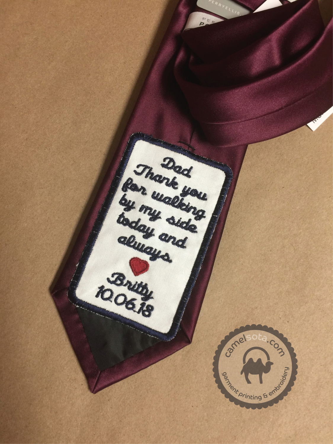 Father of the Bride or Groom Personalized Embroidered Wedding Tie Patch