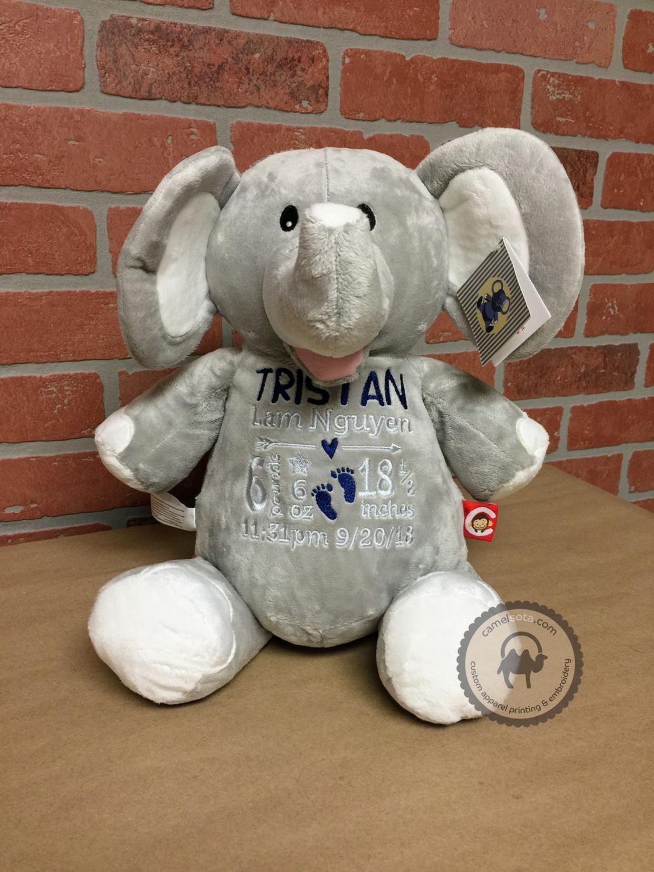 Custom Embroidered Elephant Cubbie - Grey Elephant