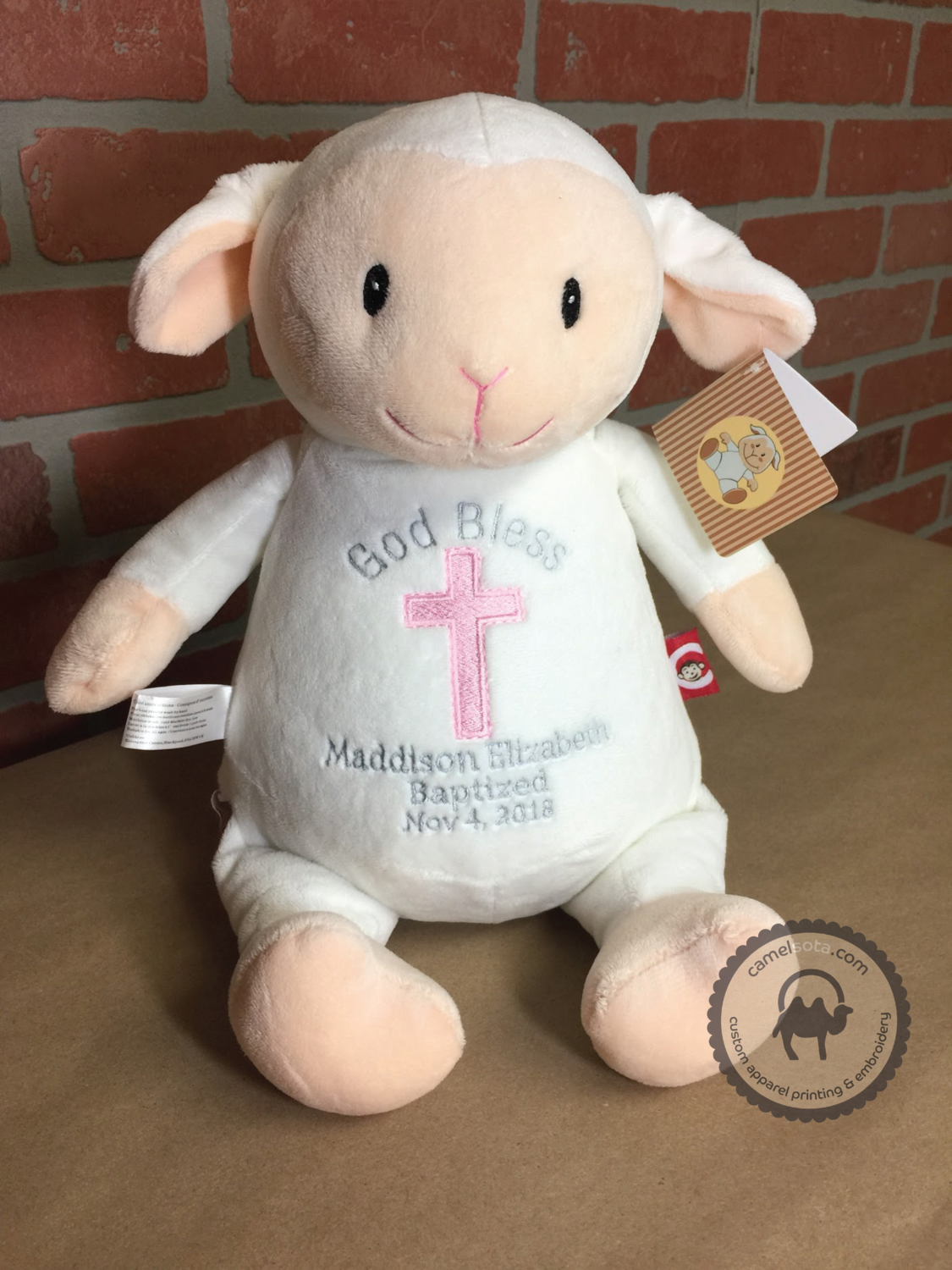 Custom Embroidered Lamb Cubbie - Loverbee Lamb