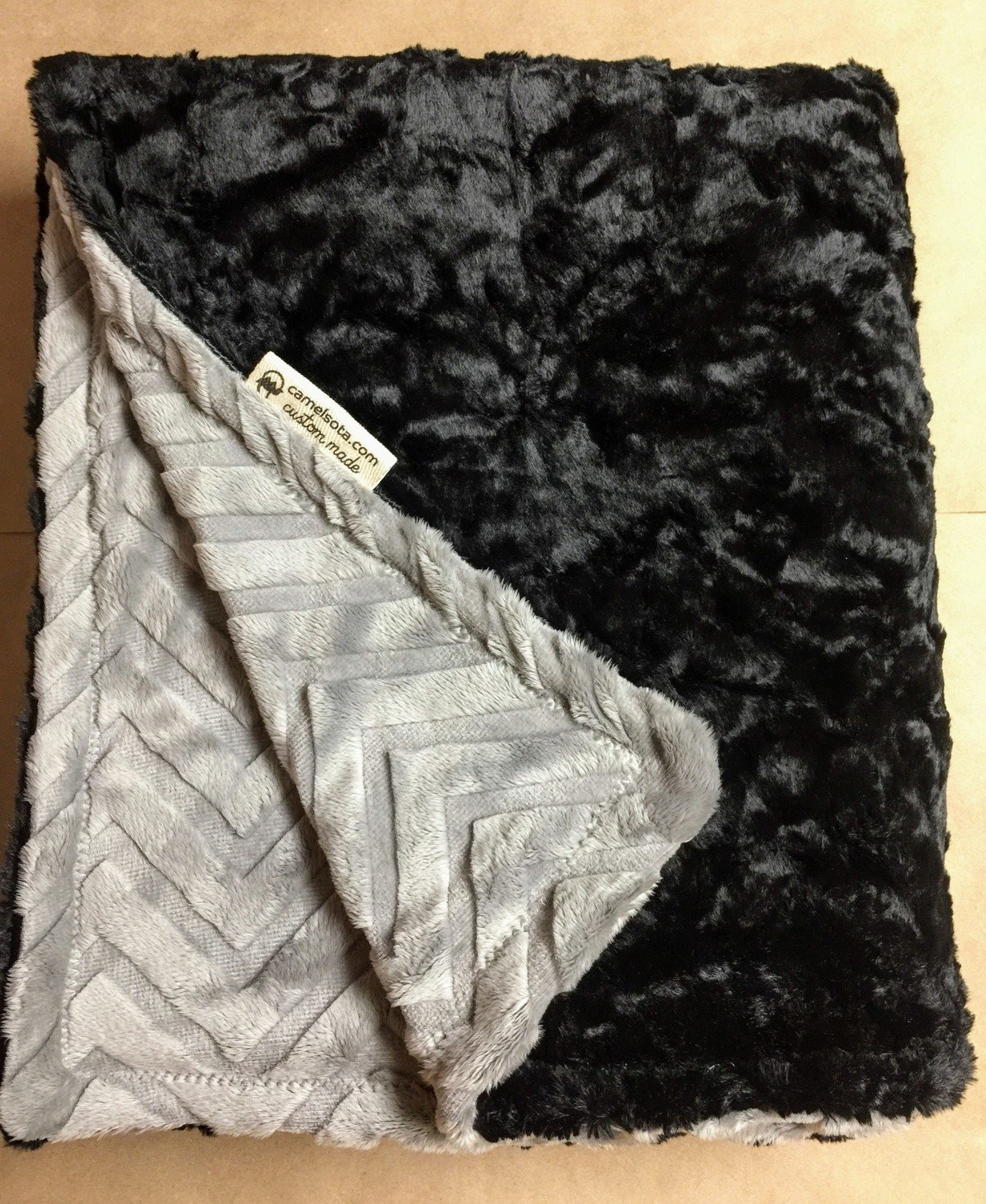 Luxe Marble Black and Embossed Chevron Silver Custom Luxury Minky Blanket