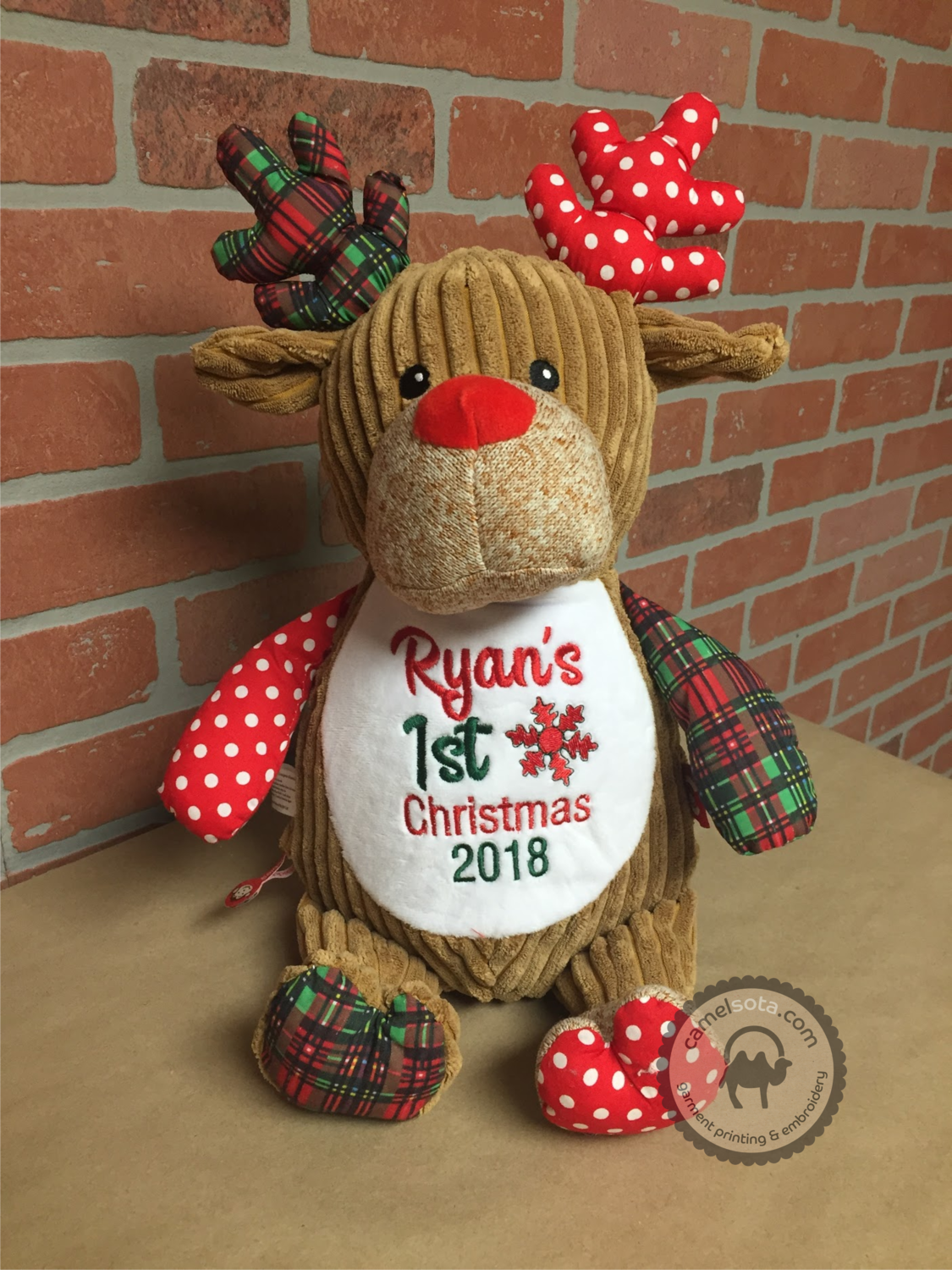 Custom Embroidered Christmas Deer Cubbie