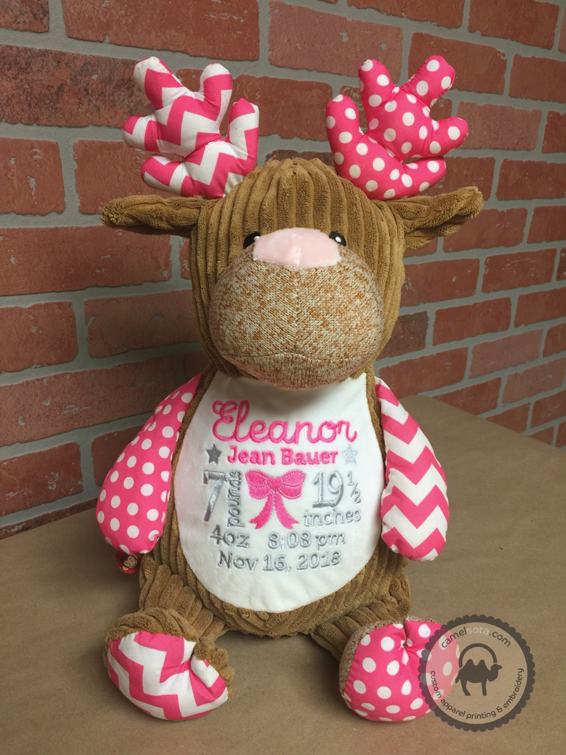 Custom Embroidered Pink Deer Cubbie