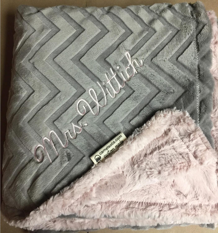 Luxe Rosewater Pink Hide and Embossed Chevron Silver Custom Luxury Minky Blanket