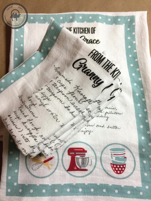 Set of Handwritten Recipe Printed on Flour Sack Kitchen Towel