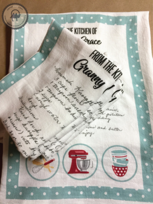 Set of Handwritten Recipe Printed on Flour Sack Kitchen Towel