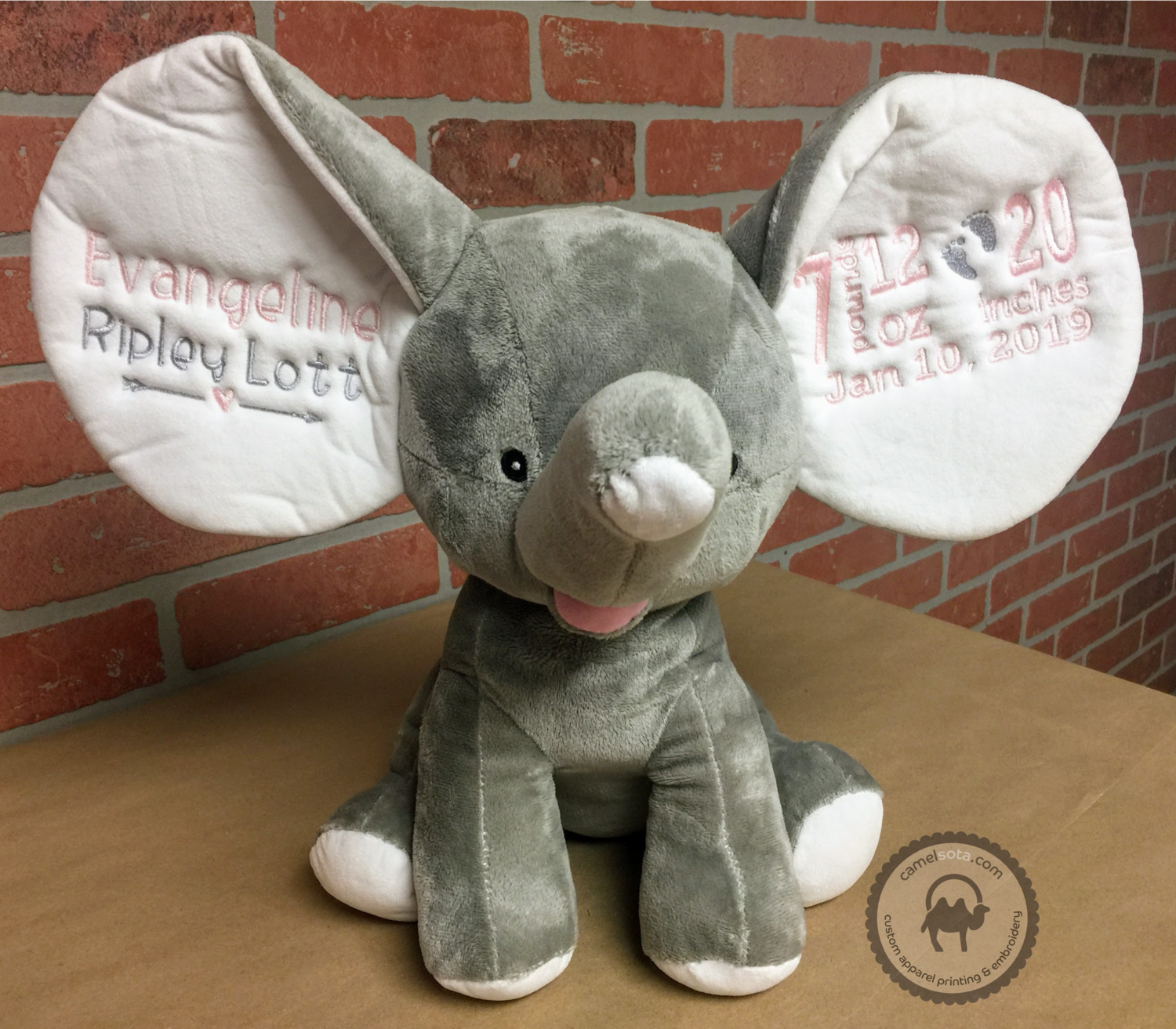 Custom Embroidered Elephant Cubbie - Grey Dumble