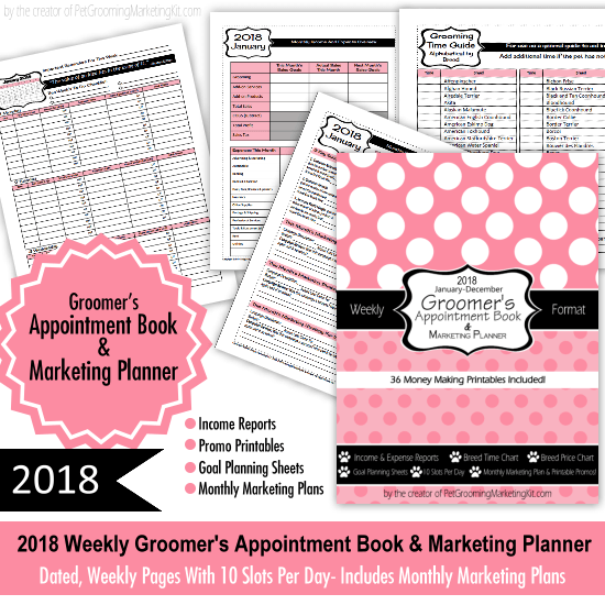 dog grooming appointment book printable pdf