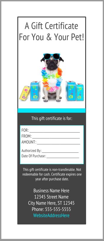 Pet Boarding Gift Certificates Template Bundle  14b