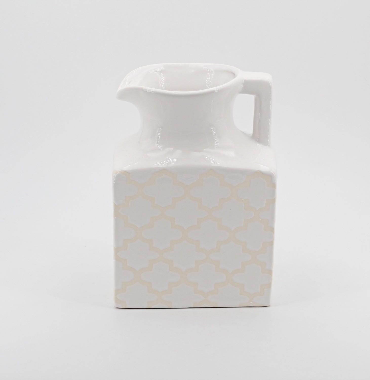Bomboniera vasetto in ceramica bianco Pz. 1
