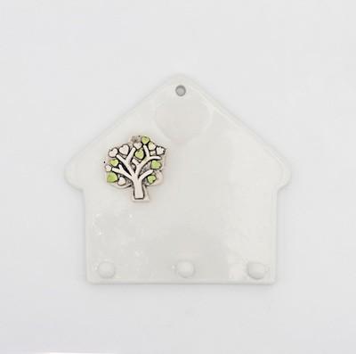 Bomboniera in ceramica Ilary Queen casetta appendino con albero della vita Pz.1