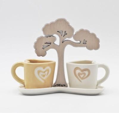 Bomboniera in ceramica set tazzine con bonsai Pz. 1
